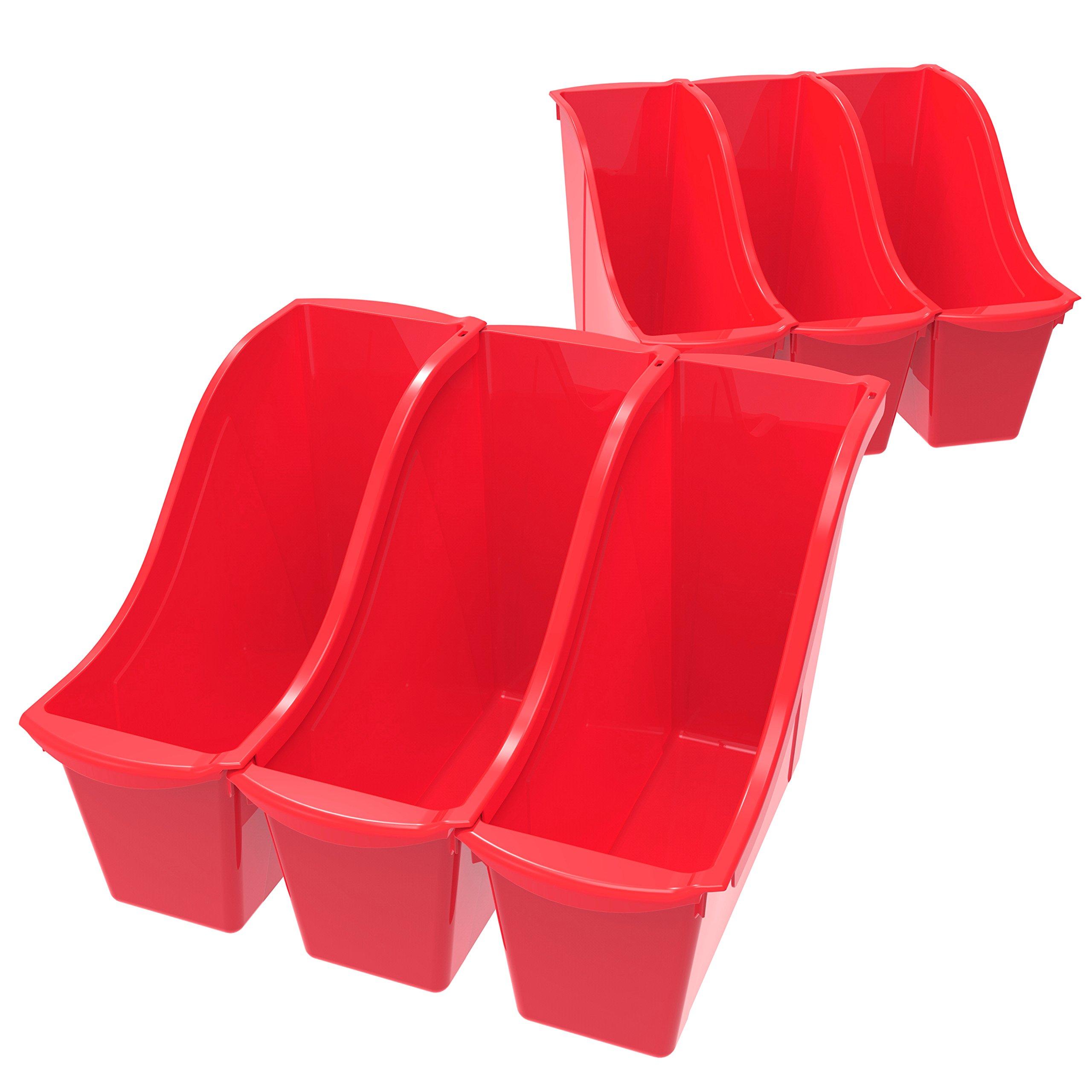 Storex Small Book Bin, 11.75 x 4.5 x 8.5'', Red, Case of 6 (71109U06C)