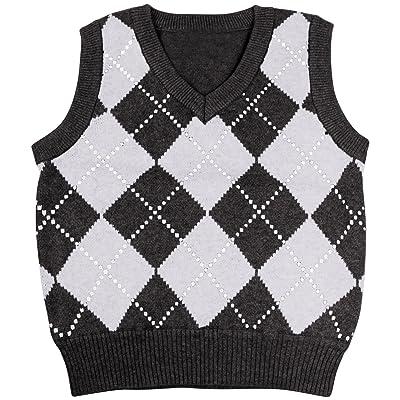 Enimay Kids Knit Sweater Vest V-Neck Argyle Pattern Pullover