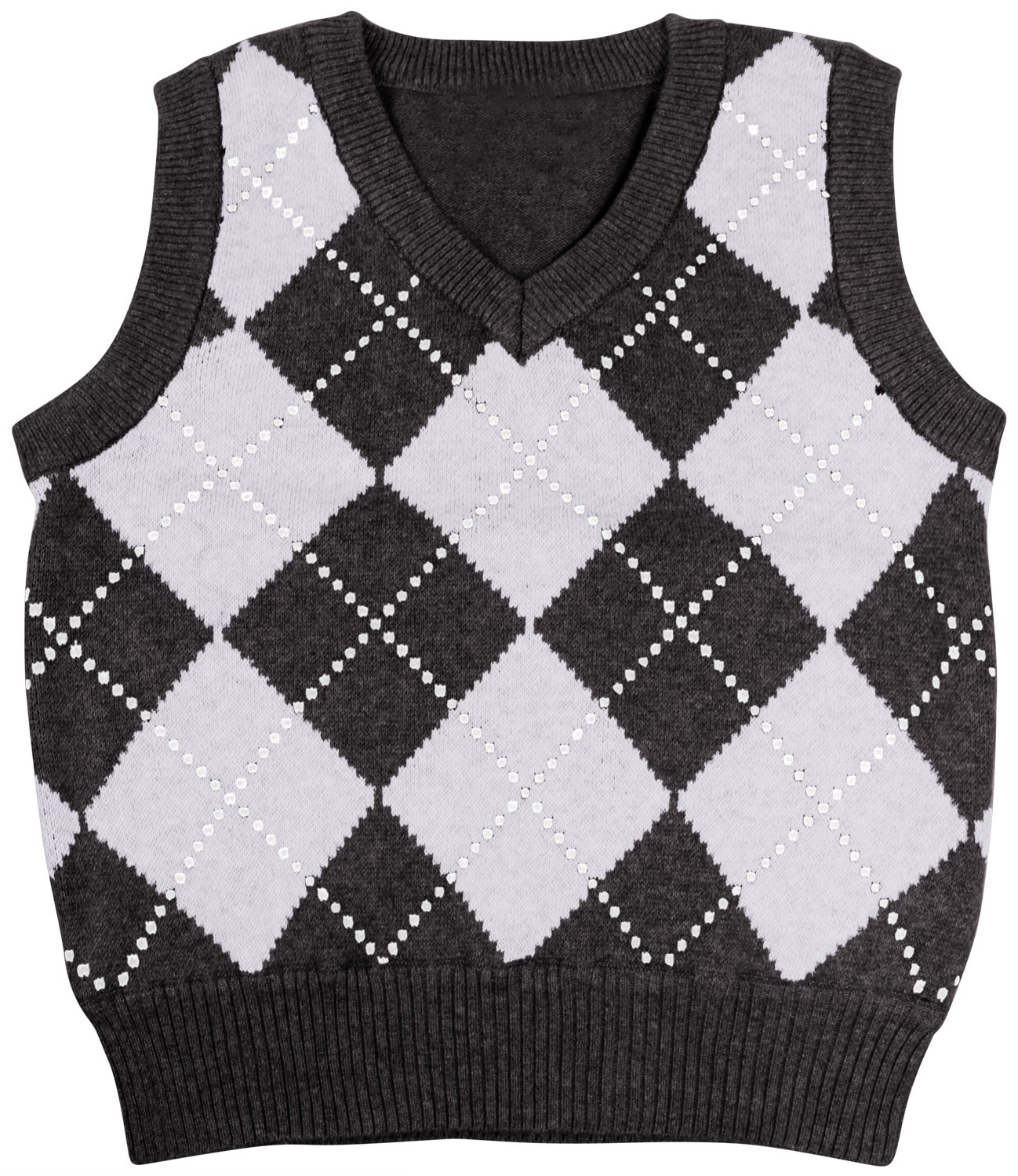 Enimay Kids Knit Sweater Vest V-Neck Argyle Pattern Pullover Black | Grey 3-Years