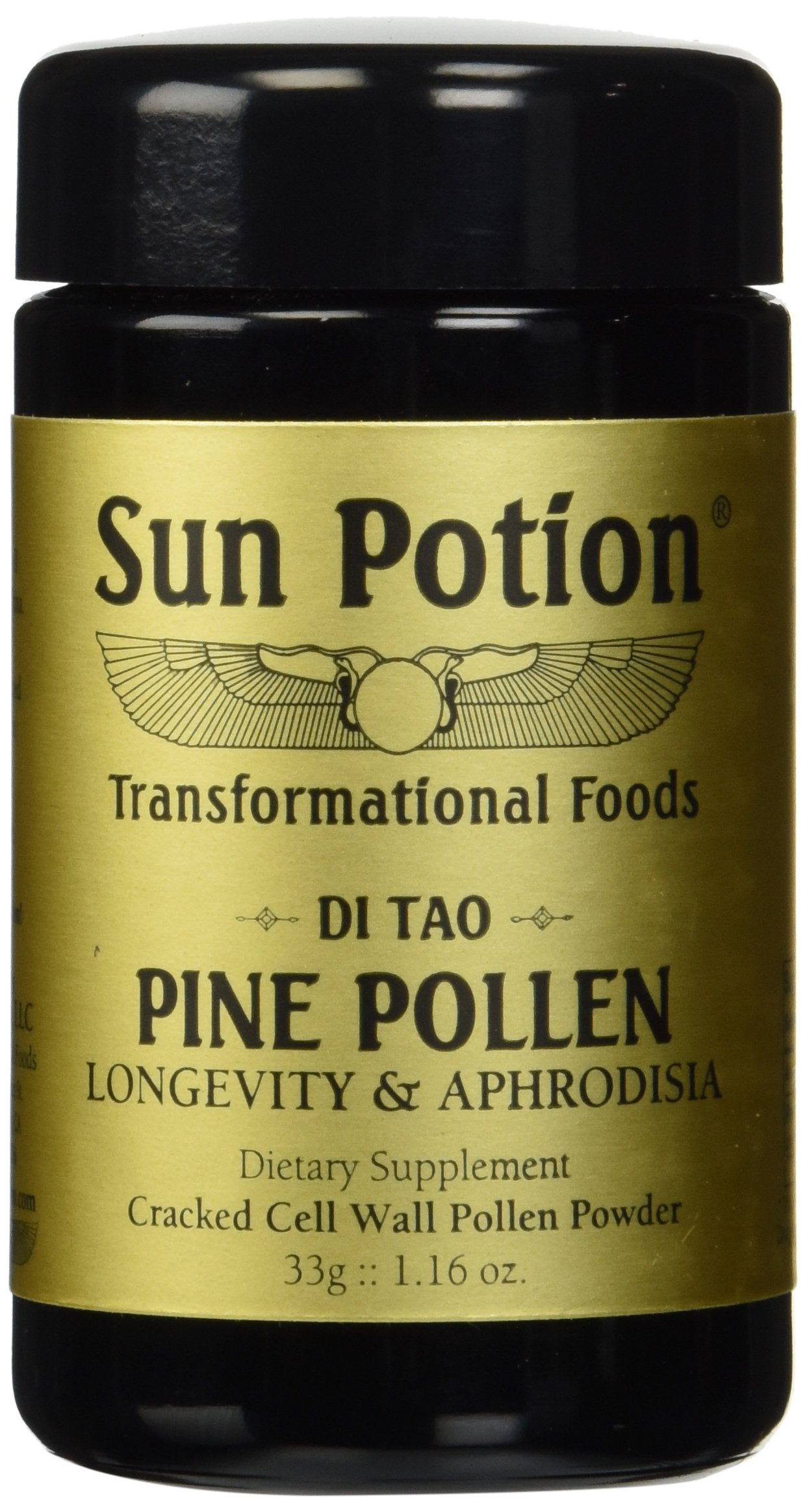 Pine Pollen Powder 33g by Sun Potion - Organic, Wildcrafted Herbal Extract, Superfood and Supplement, Cracked Cell Wall, Amino Acids - Metabolism, Libido, and Endurance Enhancing