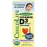 Child Life Organic Vitamin D3 Liquid, Natural Berry, .338 Fluid Ounce