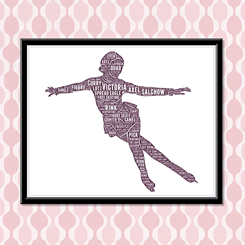 Figure Skating Wall Art for Girls, Personalized Ice Skating Print gifts for Girls, Birthday Gifts for girls, Word Art Typography Salchow Ice Skating Pose,Custom Skater poster for Wall Decor…