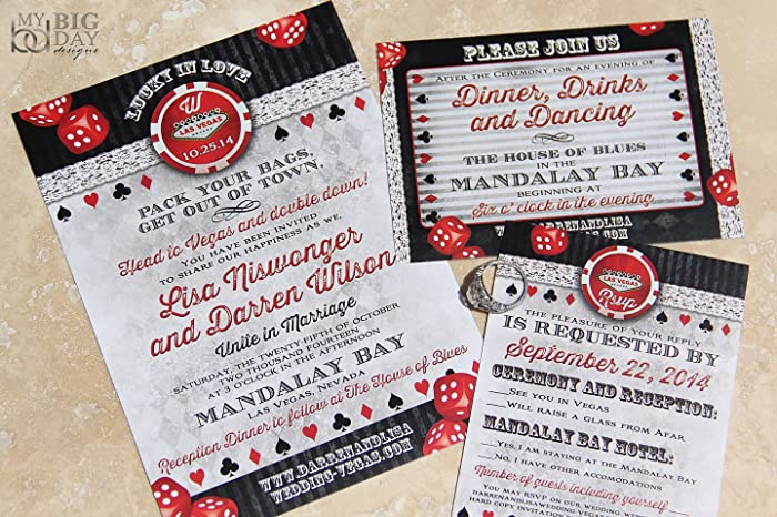 Amazon.com: Lucky In Love, Las Vegas Themed Wedding Invitation ...