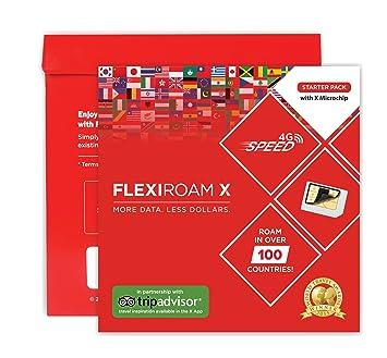 Flexiroam Micro Chip Mundial - Mantenga su Tarjeta sim - 1GB Datos in 4G LTE 30 Días Incluido - En más de 100 países X