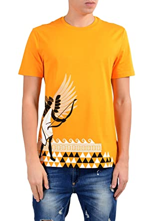 19206636 Versace Collection Men's Mango Orange Graphic Short Sleeve Crewneck T-Shirt  Size US M IT