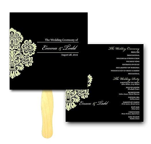 amazon com corner damask wedding ceremony program fan customized