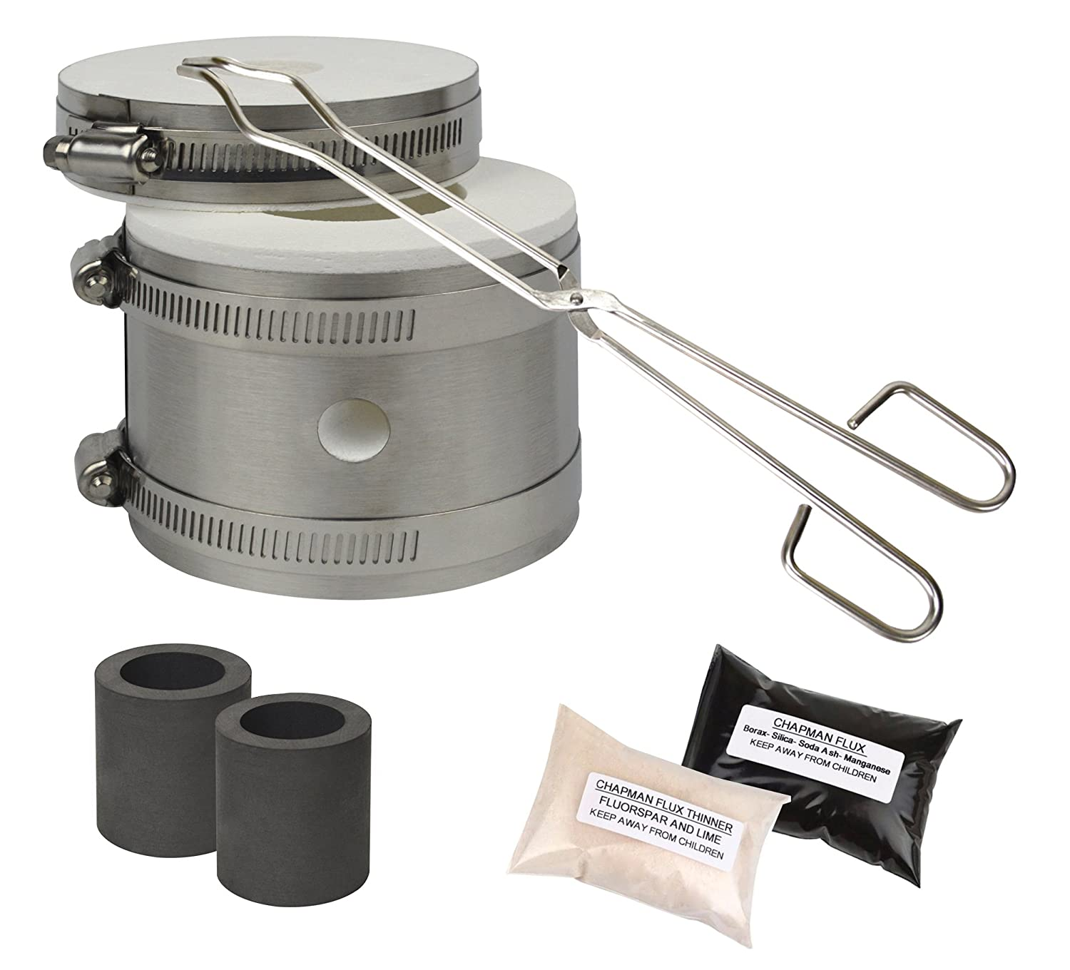 Mini Kwik Kiln Kit w/ Tongs Chapman Flux Flux Thinner & 2 Graphite Crucibles Jewelry Making Gold Silver Melting Casting Gas Furnace Kit PMC Supplies KIT-0127