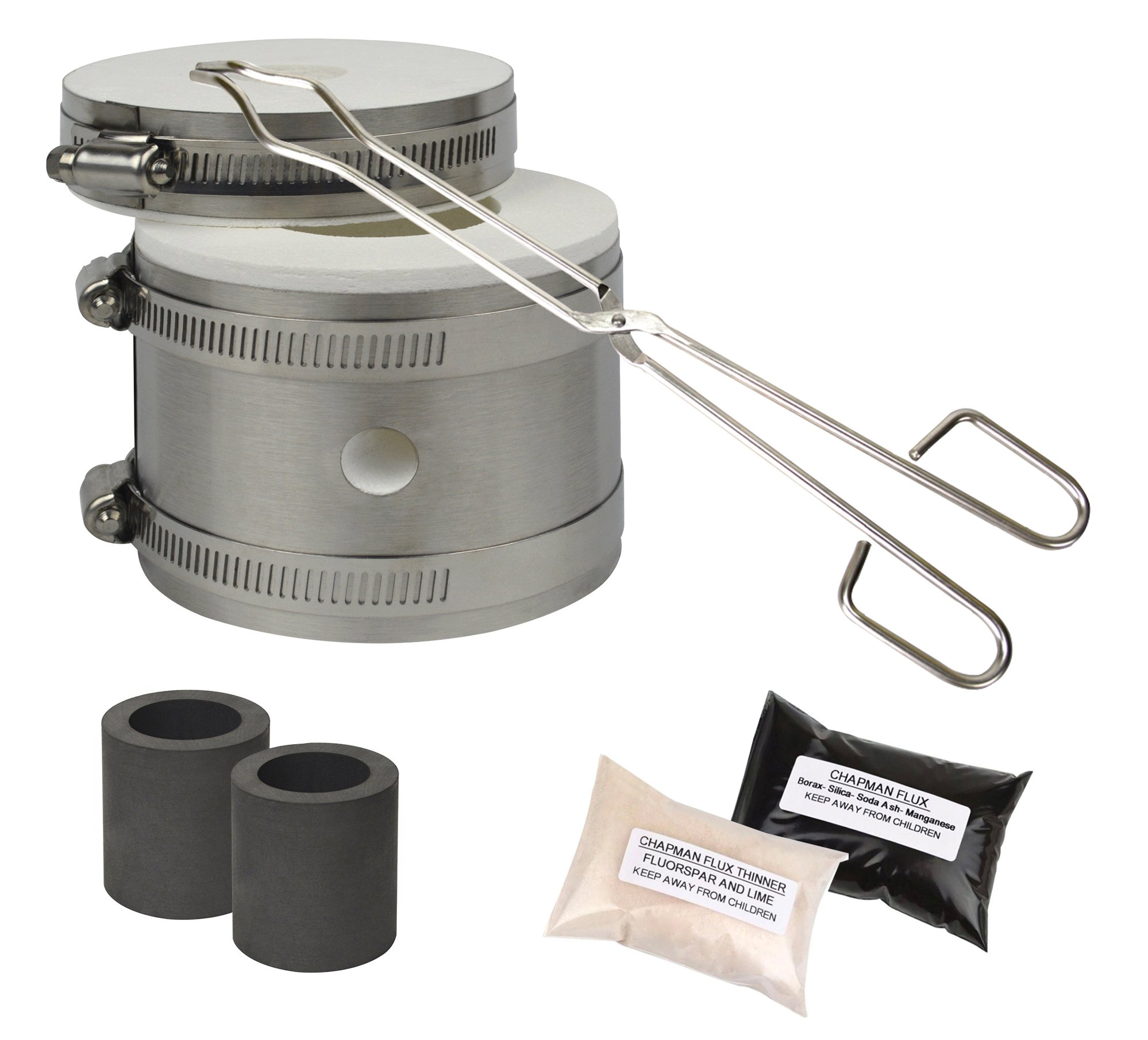 Mini Kwik Kiln Kit w/Tongs Chapman Flux Flux Thinner & 2 Graphite Crucibles Jewelry Making Gold Silver Melting Casting Gas Furnace Kit