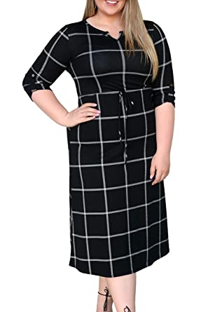 Women Plus Size Dresses Work Casual Plaid Business V Neck Knee ...