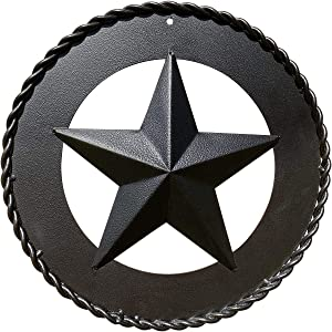 """Black Metal Wall Star – Barn Star, Metal Stars for Outside or Inside, Texas Star, Art Rustic Vintage Western Country Farmhouse Iron Wall Décor for House (12"""" Ring & Twisted Rope)"""