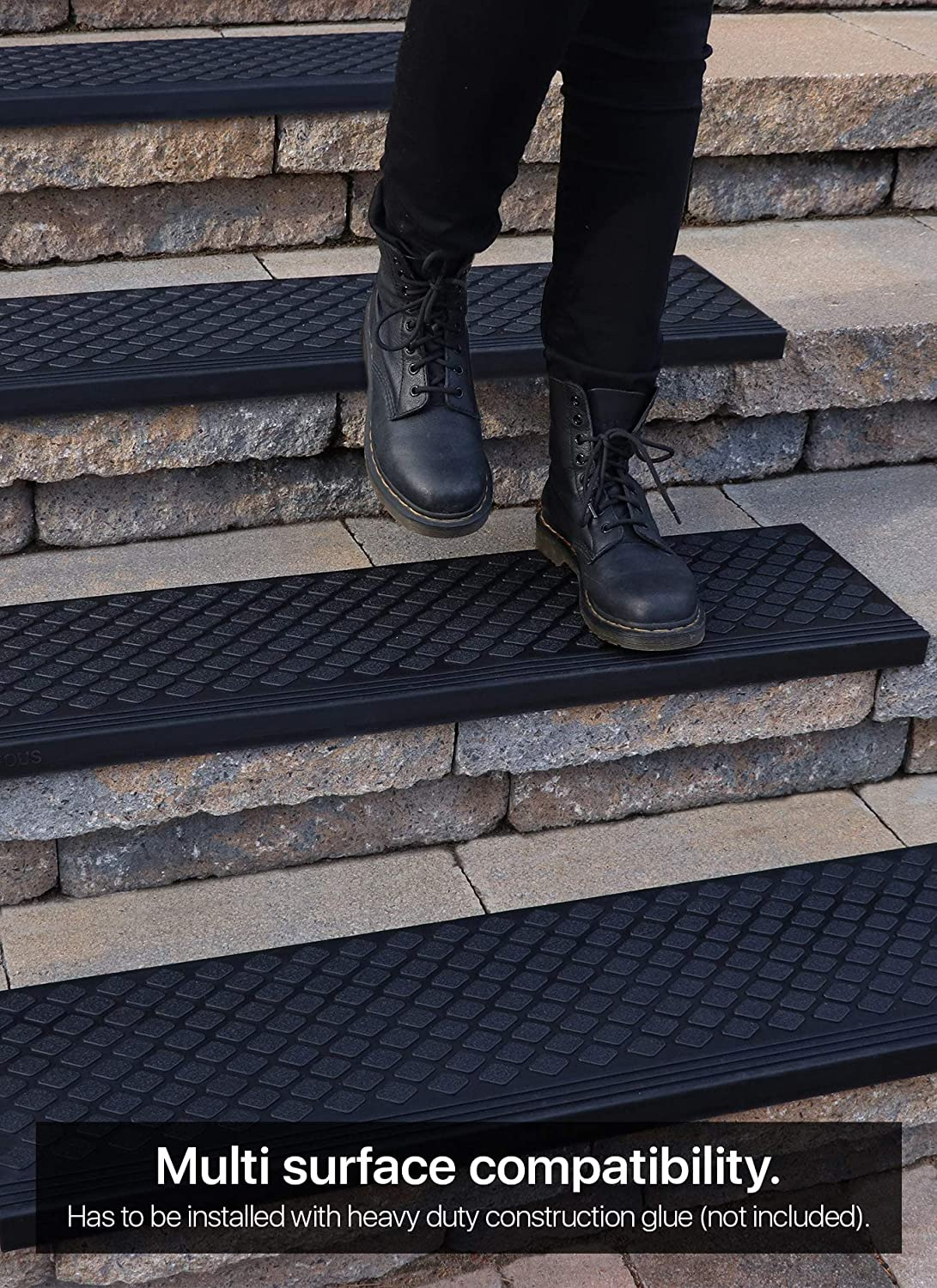 """Anti-Slip Step Mat with Nosing Rubber Stair Treads Non-Slip Outdoor 35/""""x10/"""" 5-Pack"""