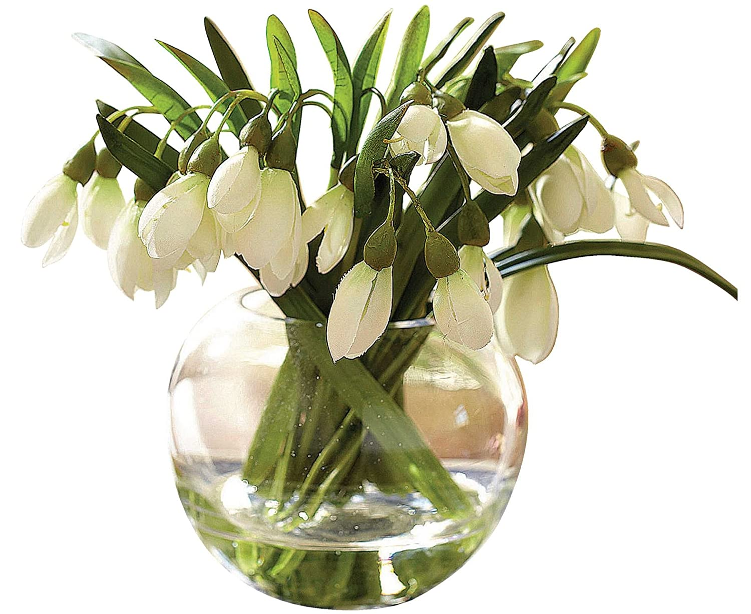 Bloom snowdrop arrangement artificial flower spring decoration bloom snowdrop arrangement artificial flower spring decoration plant glass vase amazon kitchen home reviewsmspy