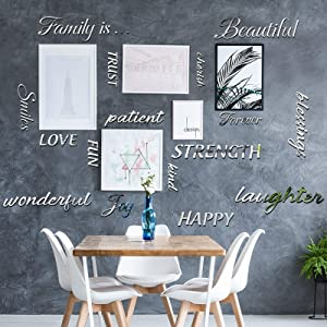 Outus 16 Pieces Family Words Quote Acrylic Mirror Setting Family Wall Sticker Decal for Picture Frame Wall Family Room Art Decoration