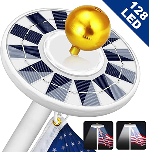 Solar Flag Pole Light 128 LED Light, Super Bright Led Solar Powered Lights on Most 15 to 25Ft Flagpole 100 Flag Coverage, 2 Modes 2500MAH Downlight up Flag, IP67 Waterproof Auto On Off Night Lighting