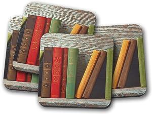 4 Set - Book Shelf Coaster - Reading Library Literature Student Uni Gift #14819