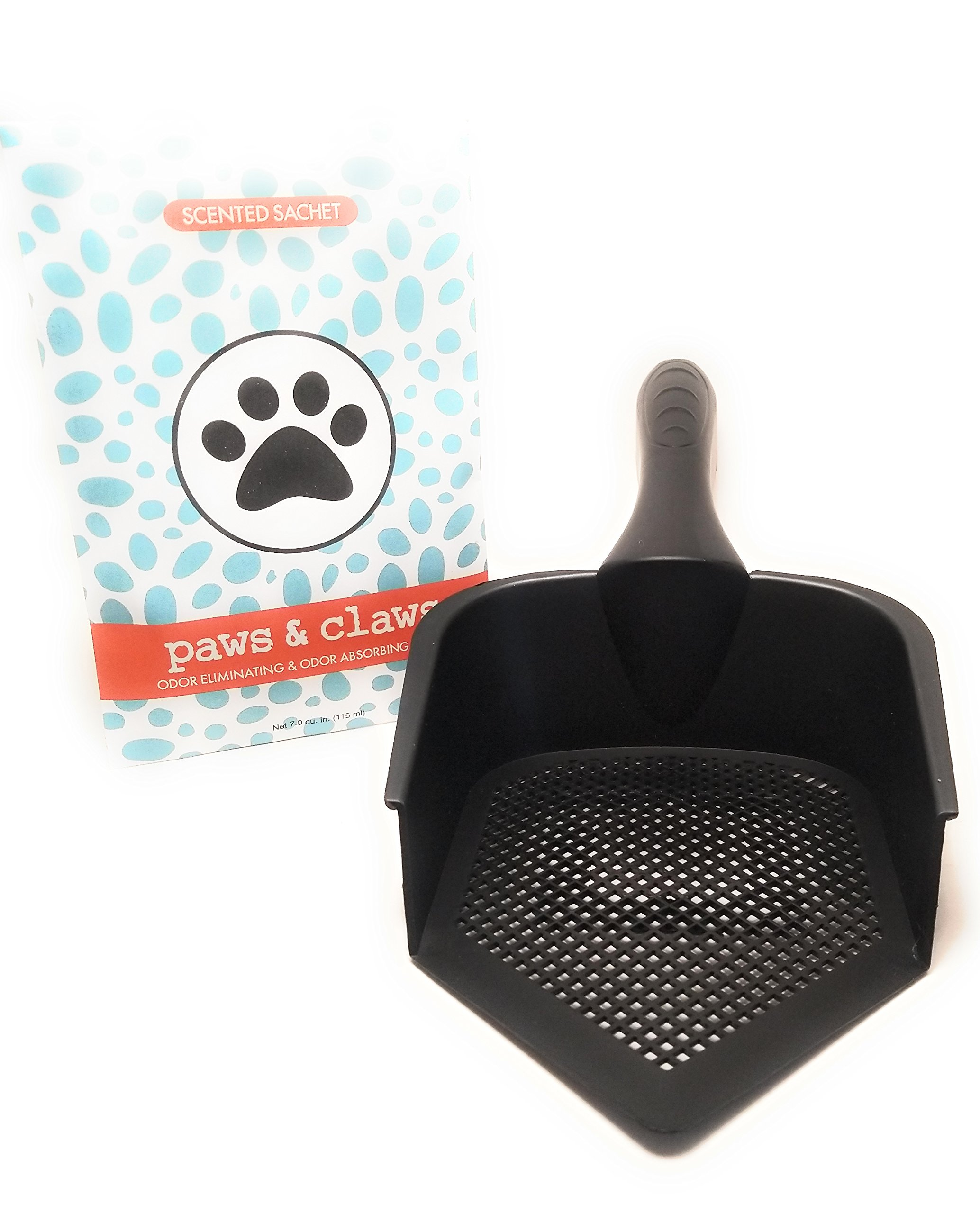 Solid Elements Best Kitty Litter Corner Scoop and Sifter Shovel With Scented Odor Absorbing Sachet, Plastic and Lightweight For Easy Cat Or Animal Litter Box Clean Up