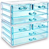 Ikee Design Jewelry and Cosmetic Storage Makeup Organizer Two Pieces Set, Blue