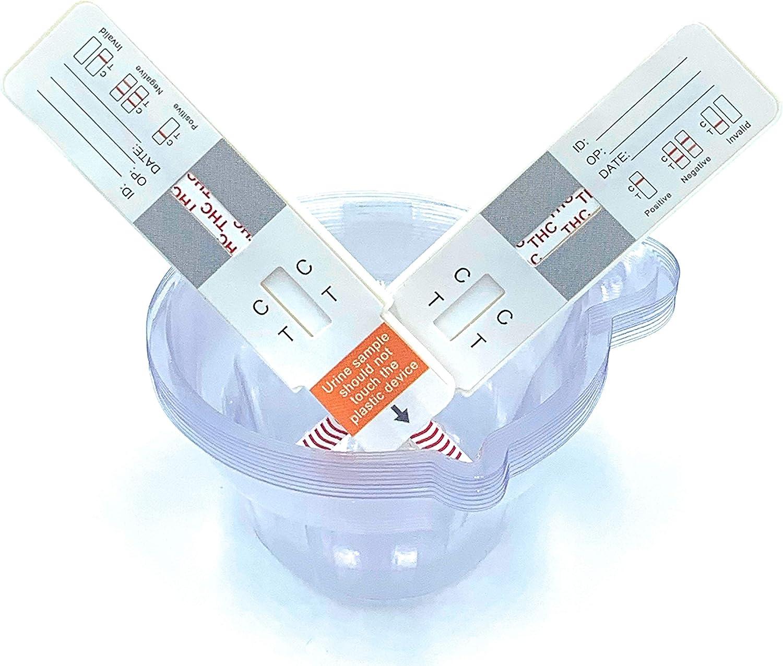 THC Vaping/Marijuana/Dab Urine Drug Test Strip Kit w 10 Urine Cups Included(10-Pack) American Family Owned Marijuana Drug Test