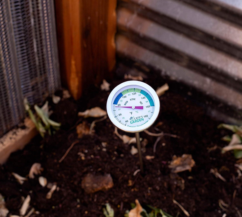Cates Garden Termómetro de compostaje, bimetal, acero inoxidable ...