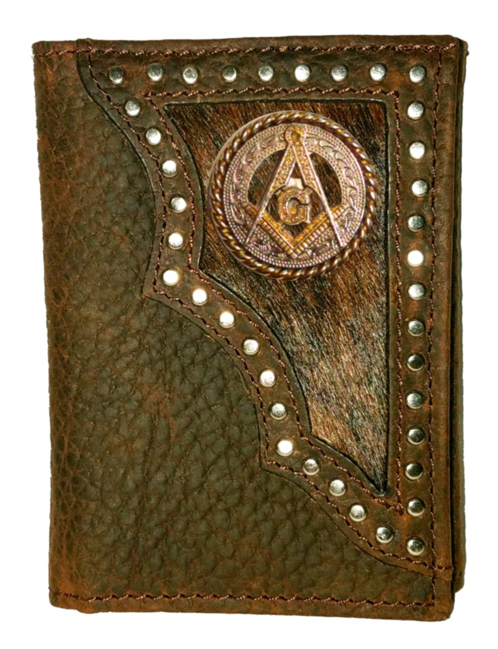 Custom Masonic Square and Compasses Tri-Fold Wallet Hair on Hide Brown