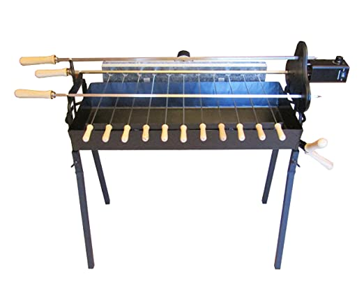 Amazon.com : Tritogenia Cyprus Charcoal Grill, Foukou, with One Multispeed 13-55RPM & One 6RPM Motors, Adjustable Height Regulator : Garden & Outdoor