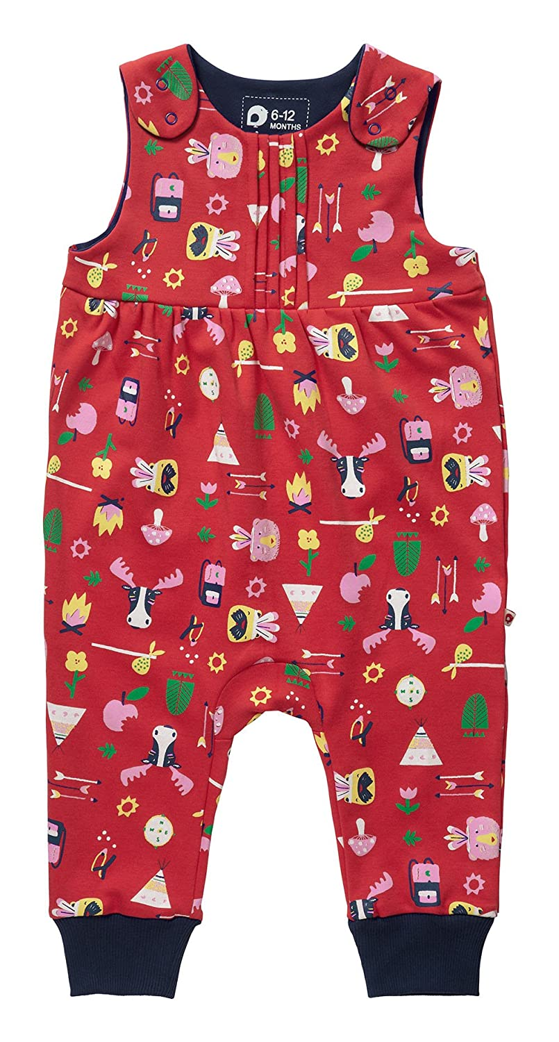 Piccalilly Organic Cotton Red Baby Girls Bowness Print Dungarees OC-1084A