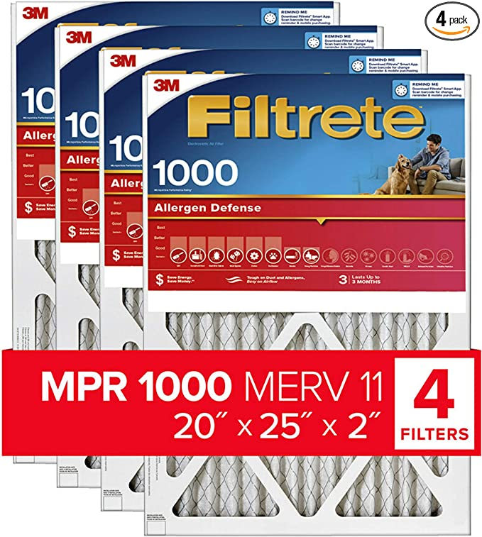 Filtrete 20x25x2 MPR 1000 AC Furnace Air Filter, Micro Allergen Defense, 4 Pack (exact dimensions 19.8 x 24.81 x 1.81)