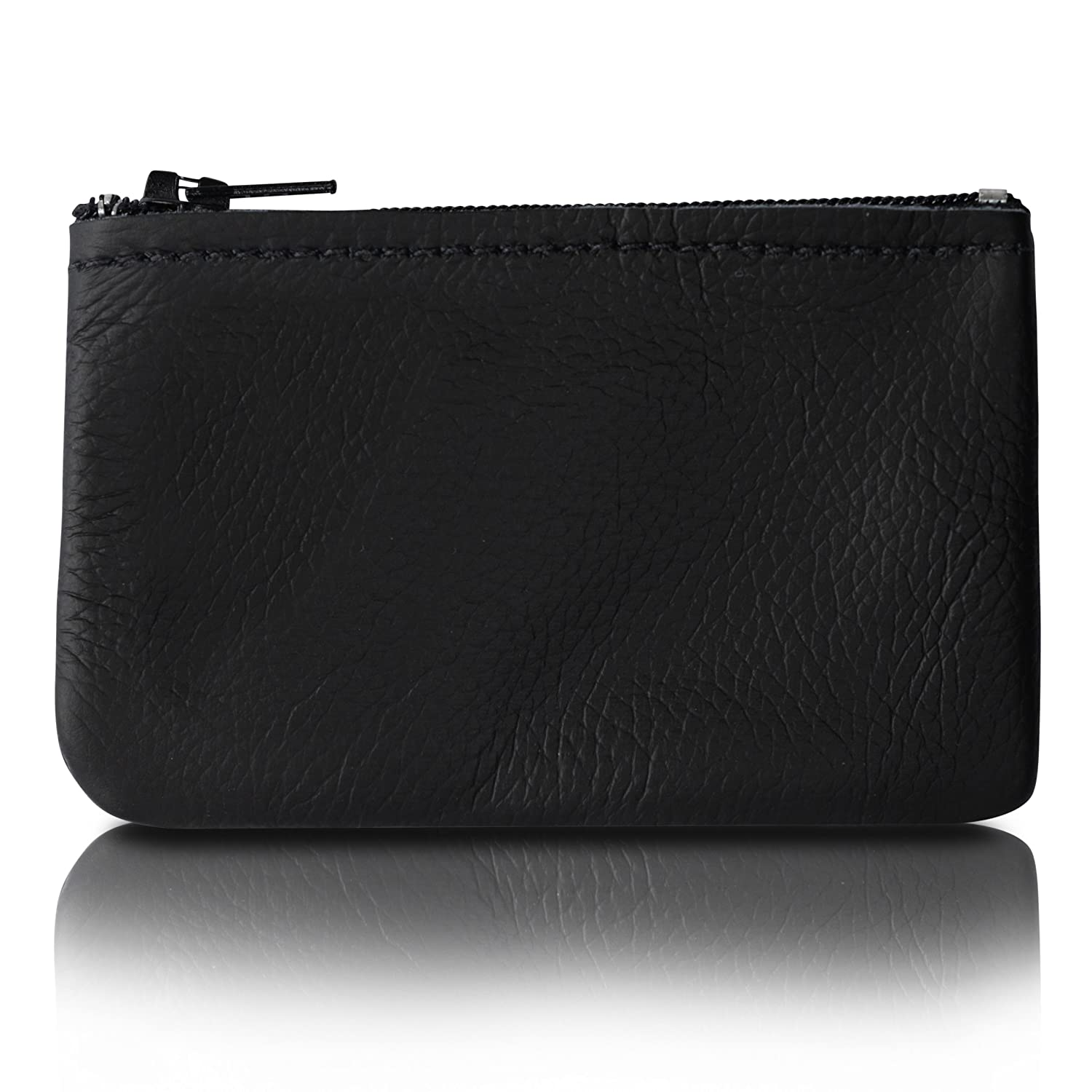 Zippered Coin Pouch, Change holder For Men/Woman made with Genuine Leather, Coin Purse, Pouch Size 4x2.5 inches, Made IN USA Made IN USA (Black) coinsm-bl