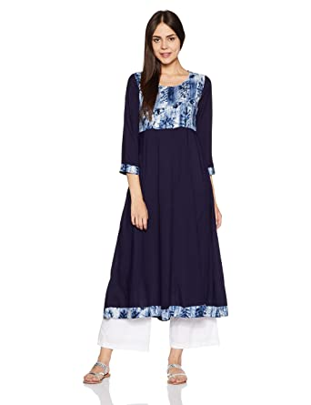 2577b347b Libas Women s Anarkali Kurta (3947 Blue XL)  Amazon.in  Clothing ...