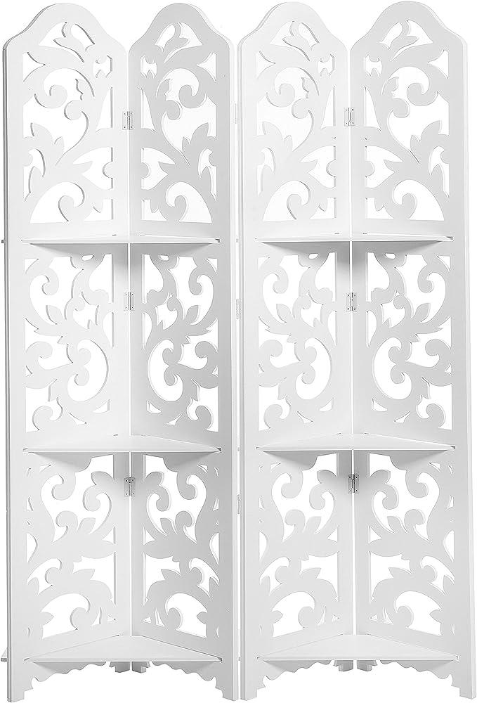 Separador de habitación de madera blanca con diseño floral de 4 ...