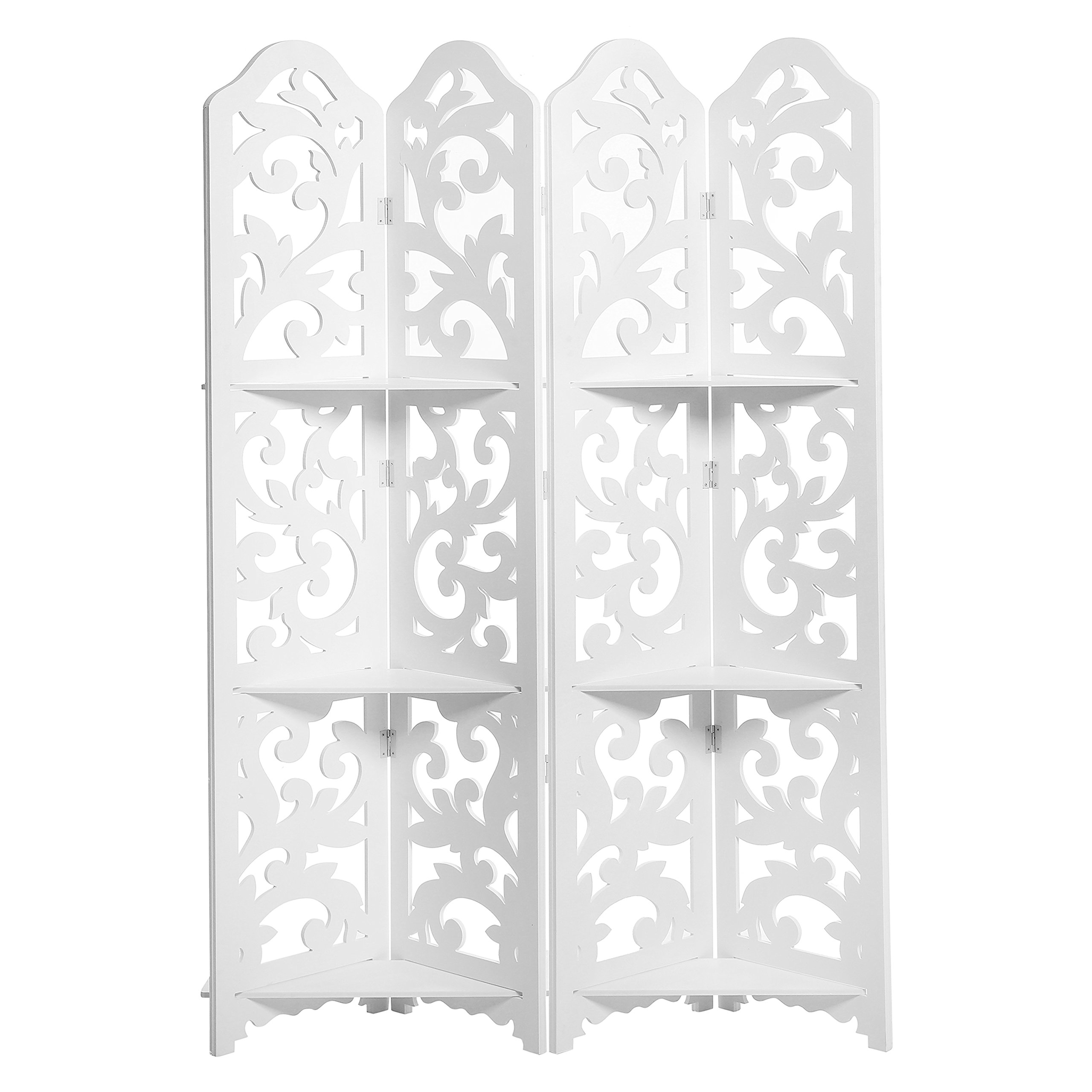 White Wood Floral Cut-Out Design 4-Panel Room Divider with 3 Removable Shelves