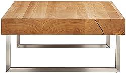 HomeTrends4You 266222 Couchtisch Inga, quadratisch, Echtholz Wildeiche massiv geölt, Gestell Edelstahl, 75x75cm, Höhe 35cm