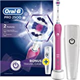 Oral-B Pro 2500 3D White Electric Rechargeable Toothbrush with Travel Case Powered by Braun - Pink