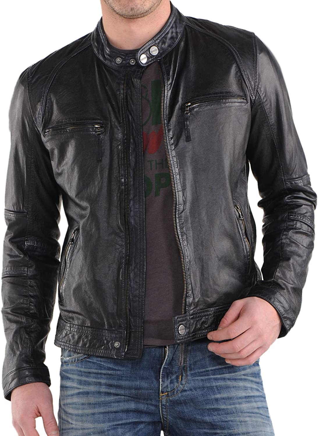 Mens Genuine Lambskin Leather Jacket Slim fit Motorcycle Jacket P185