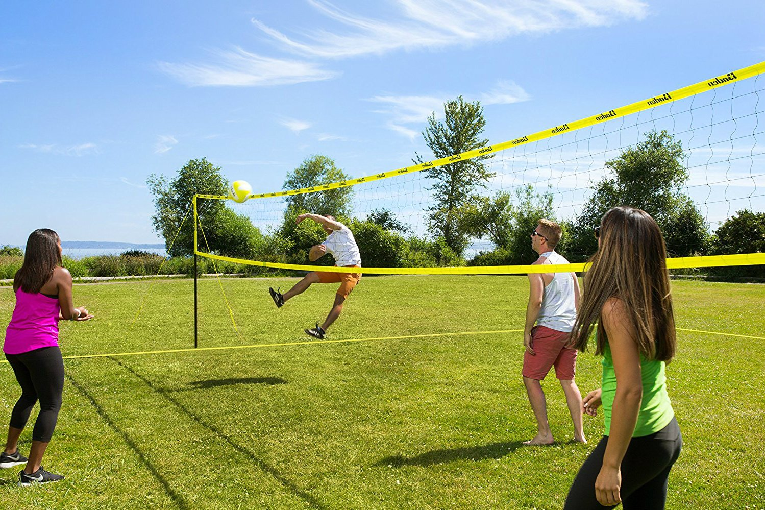 Volleyball Net Set Portable Backyard Outdoor With Poles Professional Carry Bag Ball Boundary Lines