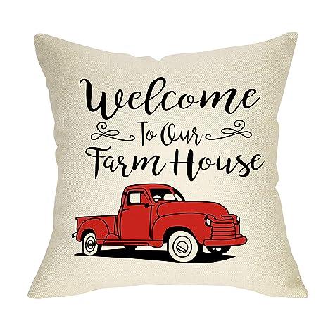 Amazon.com: Fbcoo - Funda de almohada decorativa rústica ...