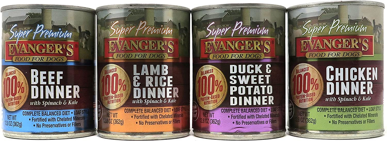 Evanger's Gold Super Premium Grain Free Dog Variety Pack, 4 Flavors (Chicken, Beef, Duck & Sweet Potato, and Lamb & Rice), 12.8 Ounces (8 Total Cans)