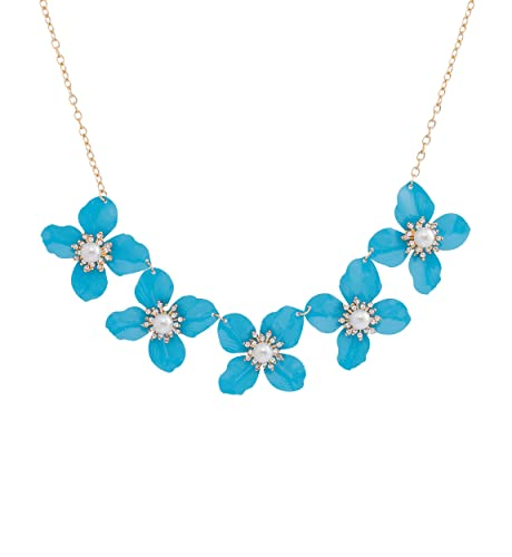 eb3628ea7 LIAO Jewelry Enamel Flower Choker Necklace Simulated Pearl Bib Necklaces  Crystal Adorned Statement Chunky Necklace for