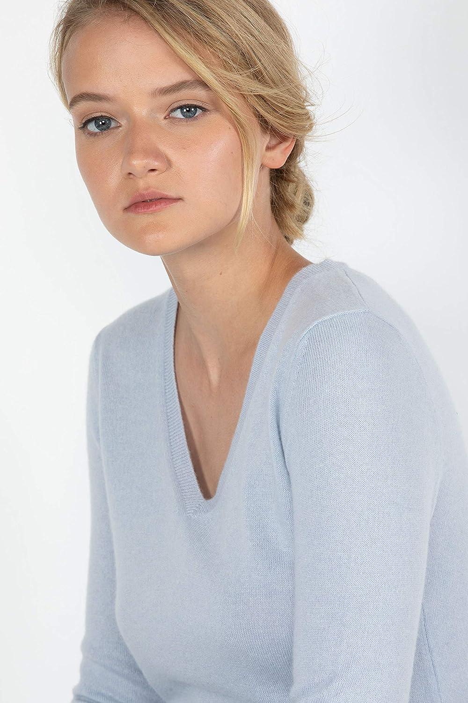 JENNIE LIU - Pullover da donna in puro cashmere a maniche lunghe, con scollo a V Cielo