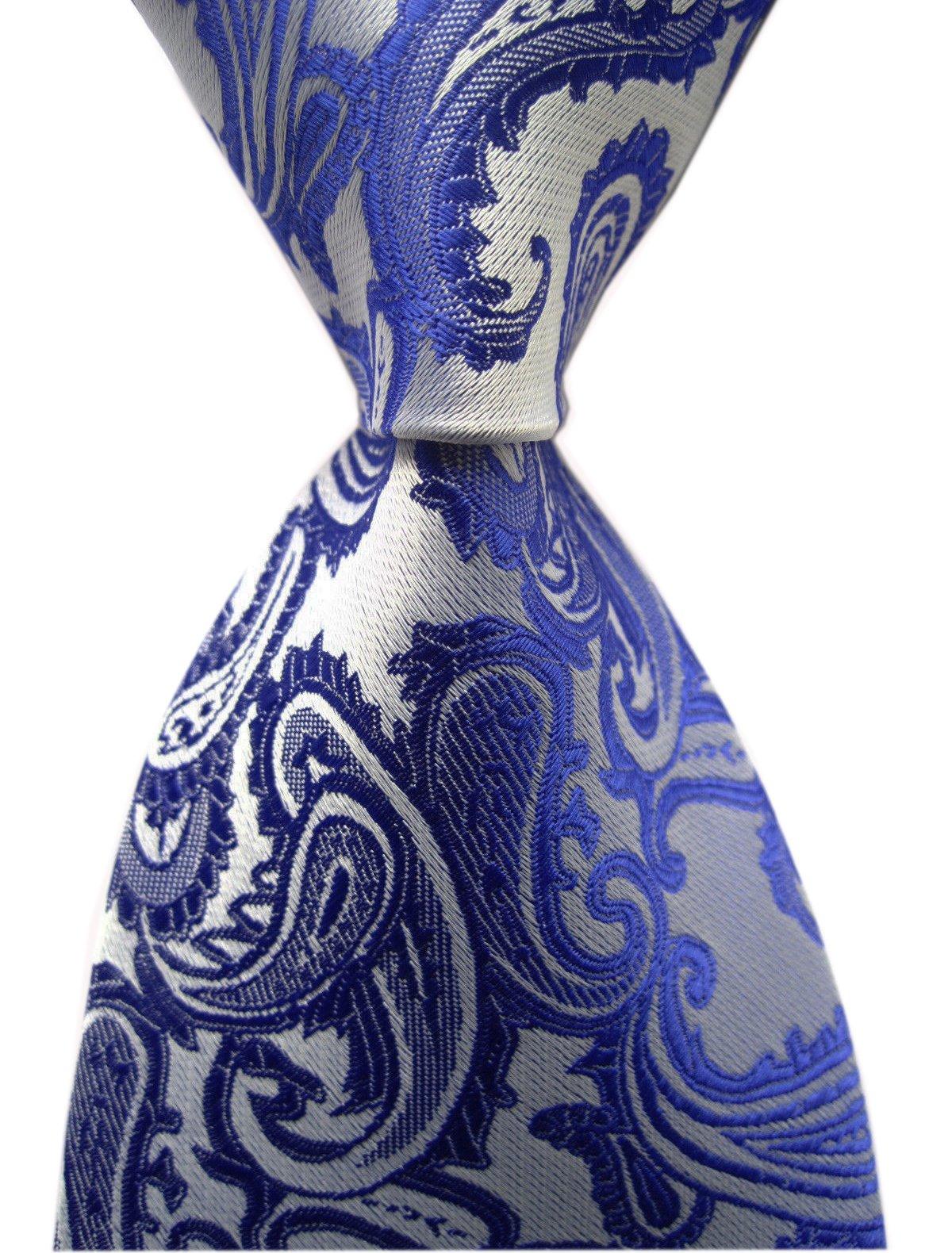Men's Royal Blue Silver Classic Skinny Silk Tie Luxury Dances Wedding Necktie
