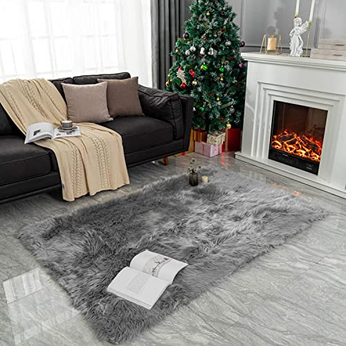 Rectangle Sheepskin Rug Supersoft Fluffy Area Rug Shaggy Silky Throw Rug Floor Mat Carpet Decoration 4 ft x 6 ft