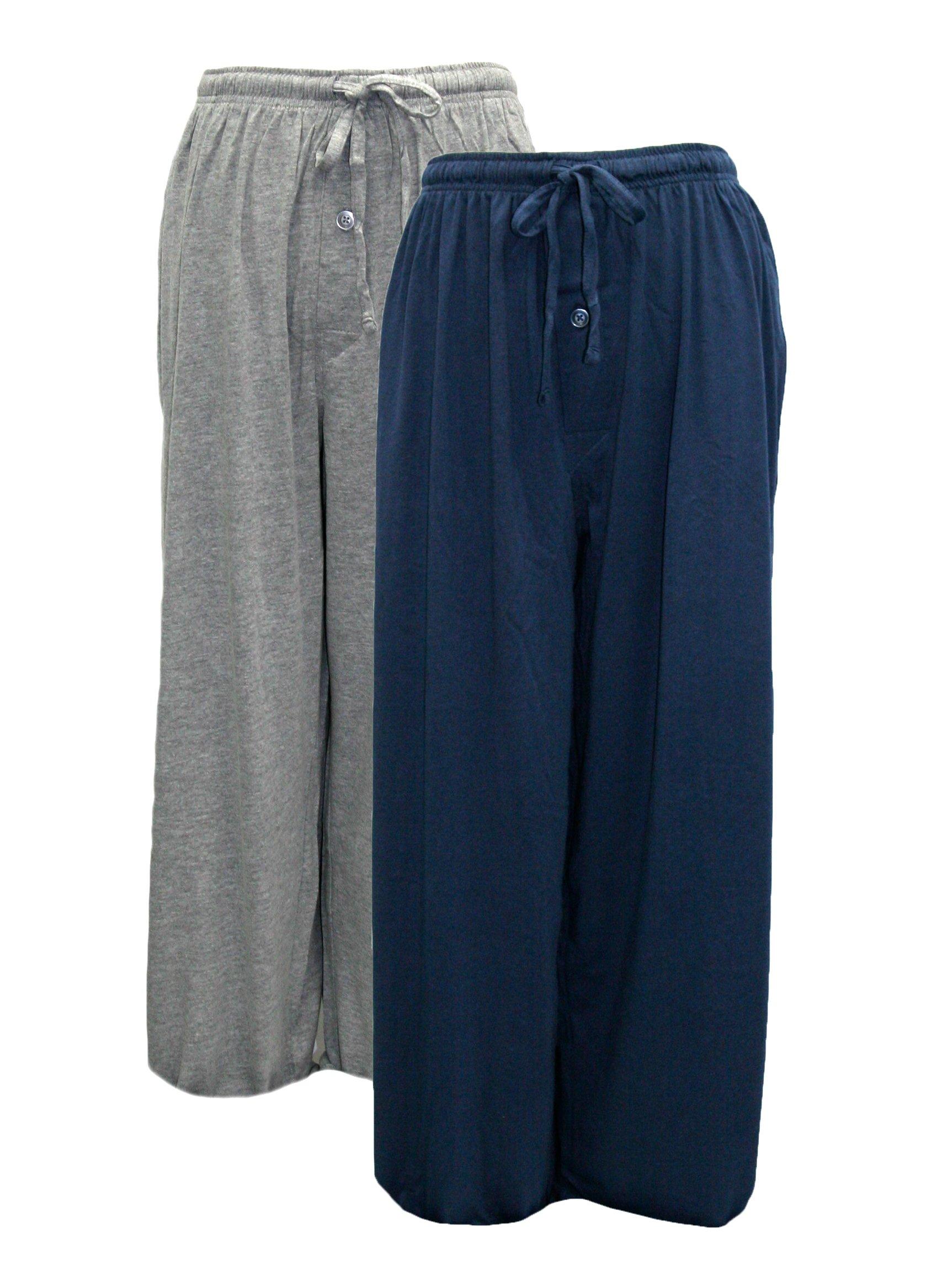 Fruit of the Loom Men's 2-Pack Jersey Knit Pajama Pant Set (Navy/Grey, 5X-Large)