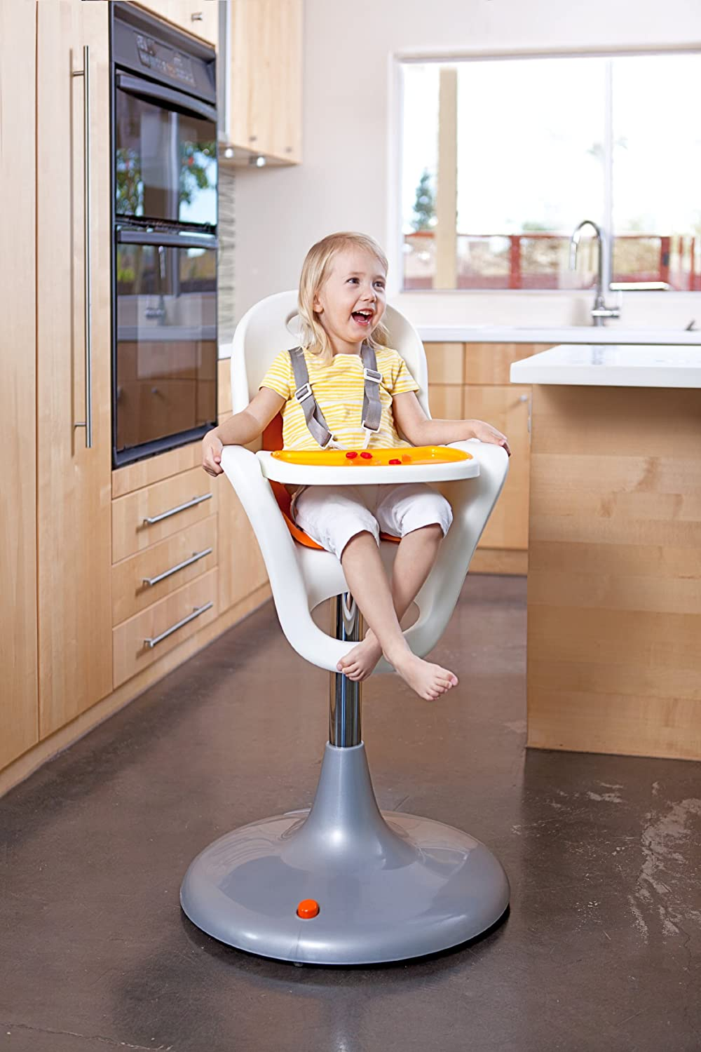 amazoncom  boon flair pedestal highchair with pneumatic lift  - amazoncom  boon flair pedestal highchair with pneumatic lift whiteorang childrens highchairs  baby
