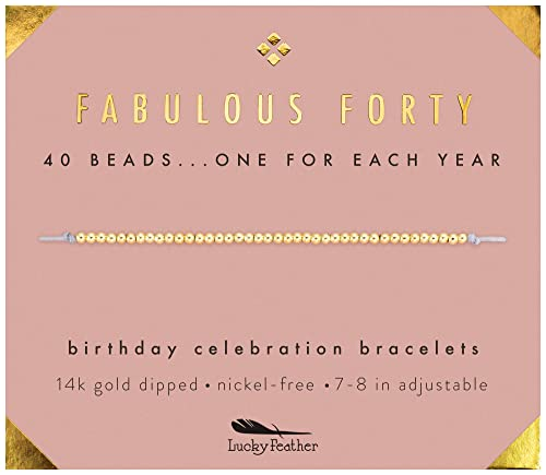 Amazon Lucky Feather 40th Birthday Gifts For Women 14K Gold Dipped Beads Bracelet On Adjustable 7O 8O Cord