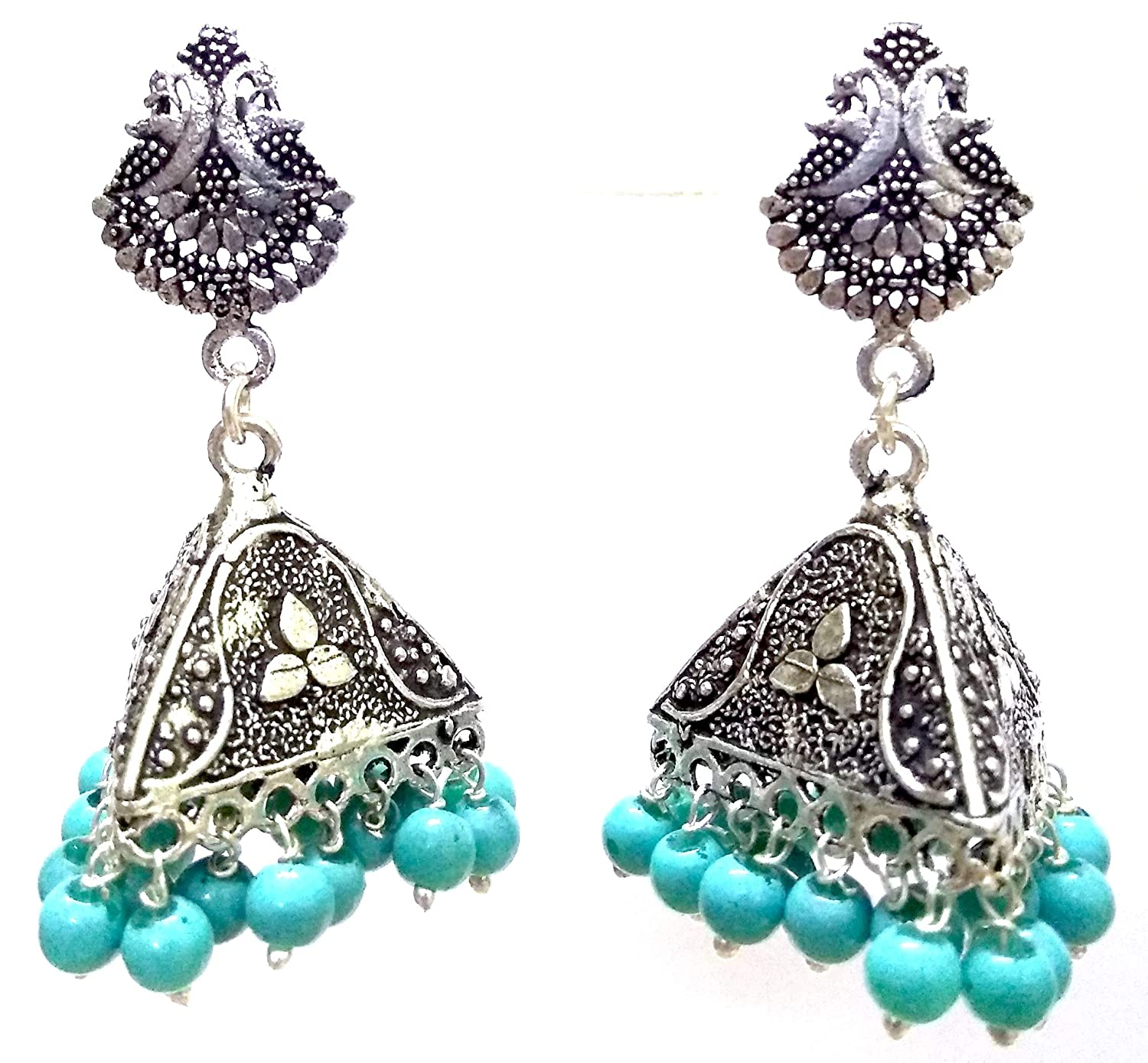DESI HAWKER Silver Oxidized Earring Bali Jhumki Jhumka Jewelry Bollywood Drop Dangle Pyramid Chandelier Peacock NI-160