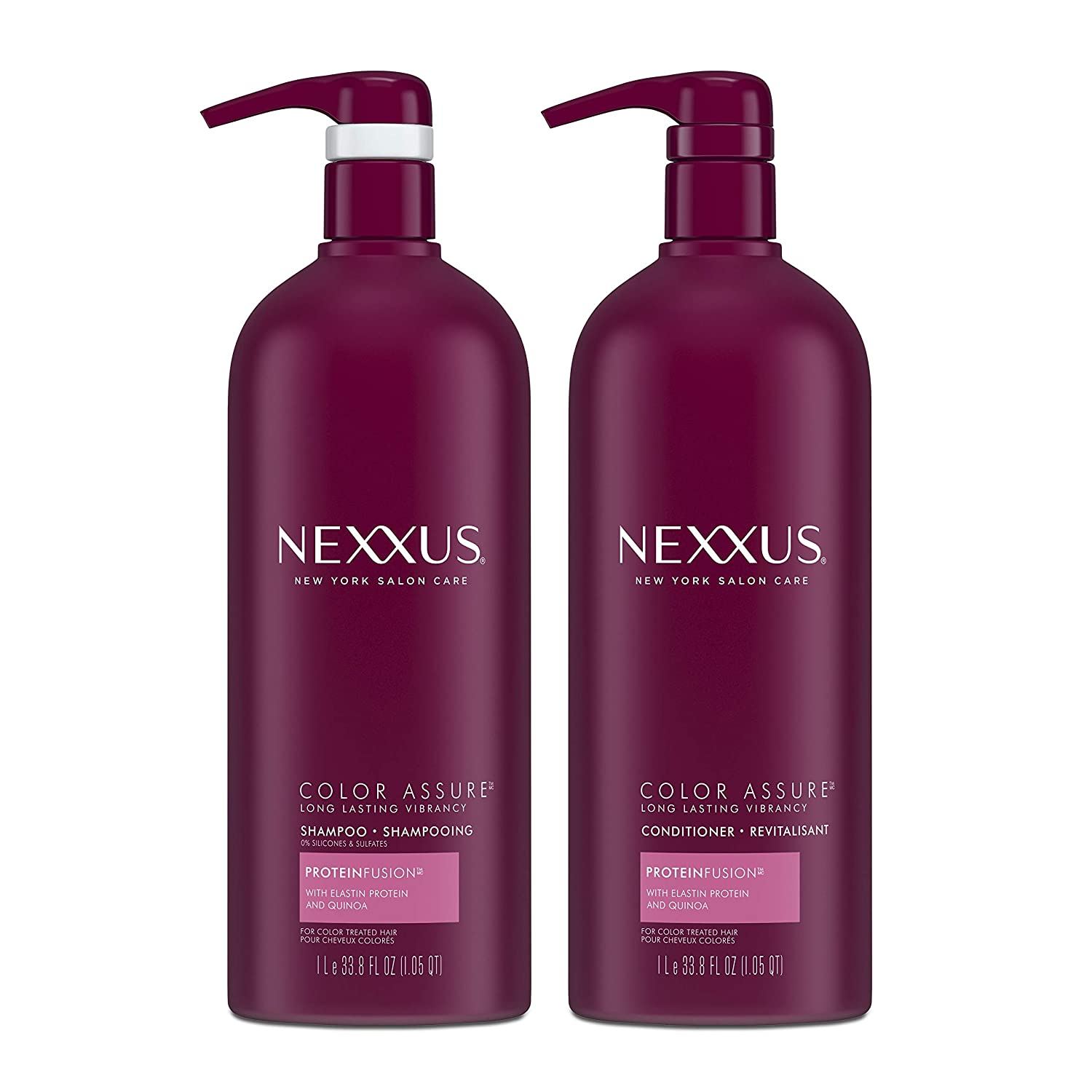 Nexxus Color Assure Shampoo and Conditioner For Color Treated Hair ProteinFusion Enhance Hair Color For Up To 40 Washes 33.8 oz 2 count