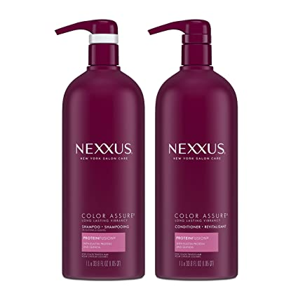 Nexxus Color Assure Shampoo and Conditioner For Color Treated Hair ProteinFusion Enhance Hair Color For Up To 40 Washes 33.8 oz 2 count best shampoo for color-treated hair