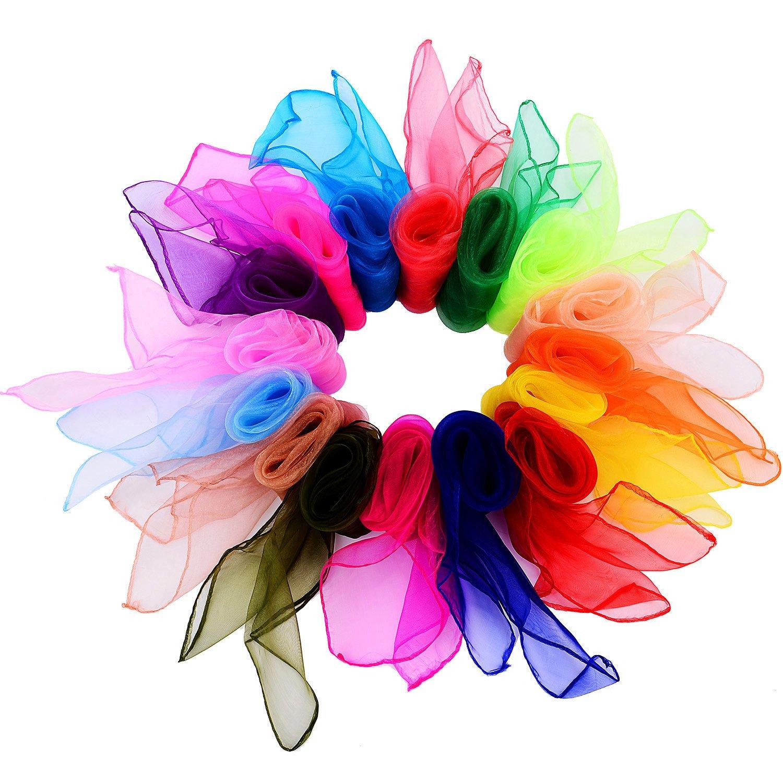 32 Piezas de Pañuelo de Baile Cuadrado Pañuelos Mágicos Malabares para los Niños, 24 por 24 Pulgadas (32 Colores) TecUnite