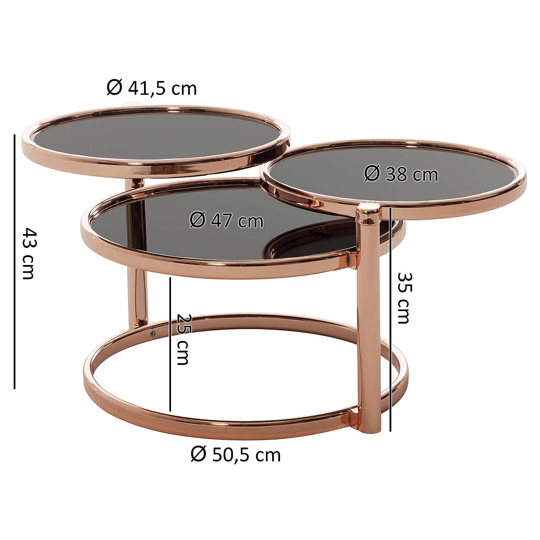 Beistelltisch Rund Kleiner Loungetisch Designer Glastisch Sofatisch modern FineBuy Couchtisch SINA mit 3 Tischplatten Schwarz//Kupfer 58 x 43 x 58 cm Design Wohnzimmertisch Glas//Metall