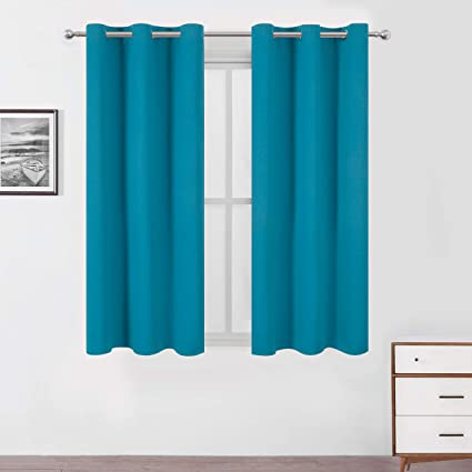 Lemomo Teal/Turquoise Blackout Curtains/42 x 63 Inch Length Kids  Curtains/Set of 2 Panels Grommet Bedroom Curtains for Living Room Curtains
